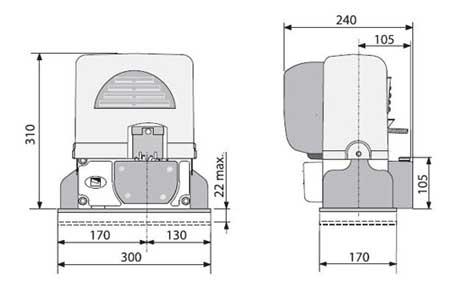 габаритные размеры привода BX 68